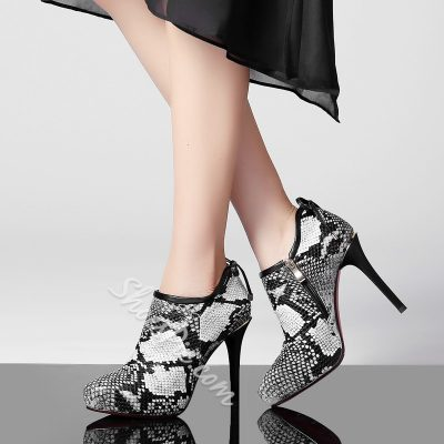 Shoespie Wild Snake Pattern Ankle Boots