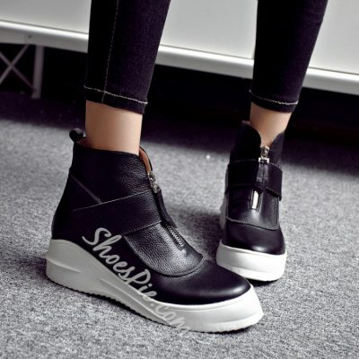 Shoespie Zippers Sports Flat Boots