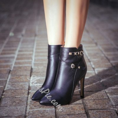 Shoespie leather Pointed toe Stiletto Heel Ankle Boots