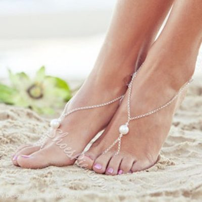 Silver Pearl Decorated Alloy Anklet