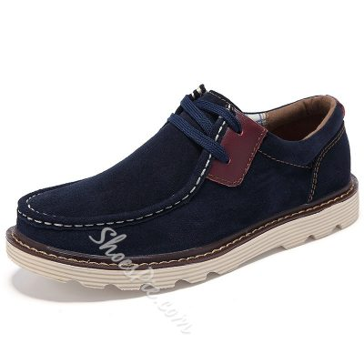 Solid Color Quilted Lace-Up Loafers