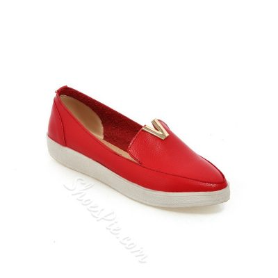 Solid Color Quilted Pointed Toe Flats
