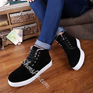 Solid Color Round Toe Lace-Up Men's Sneaker