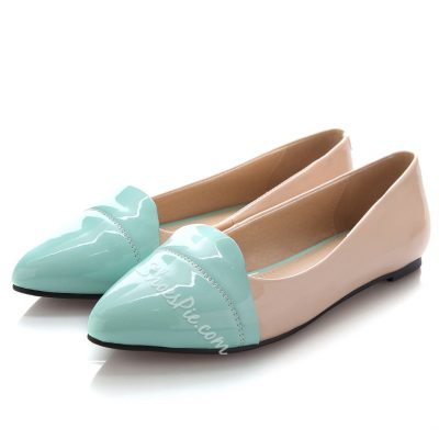 Striking Color Block Patent Leather Pointed Toe Flats