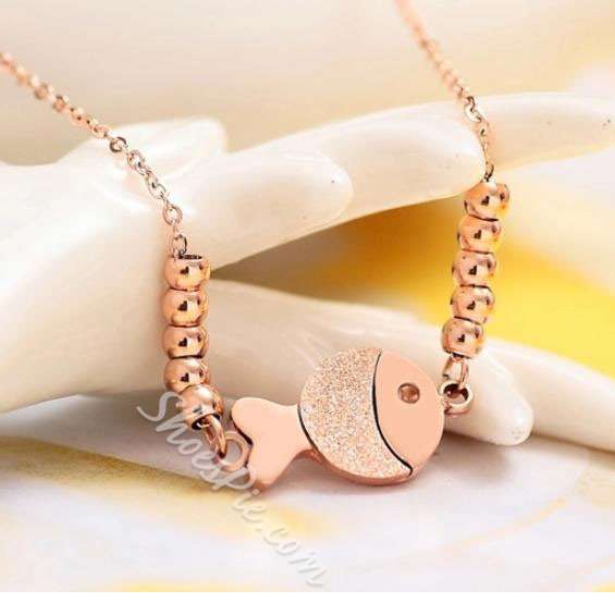 Striking Rosa Gold Anti-allergic Fish Decoration Anklet