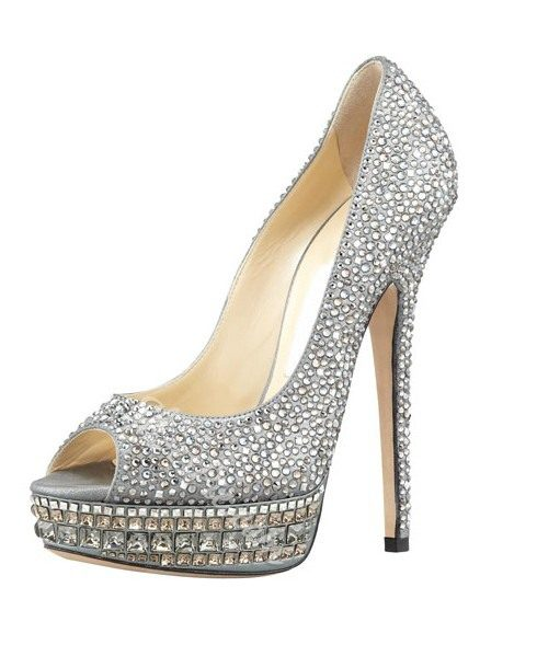 Summer Silver High Heels leather Peep Toe Women Pumps