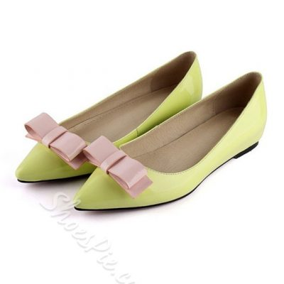 Sweet Bowknot Decorated Pointed Toe Genuine Leather Flats