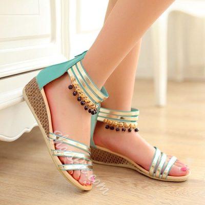 Sweet Metal Beading Flat Sandals