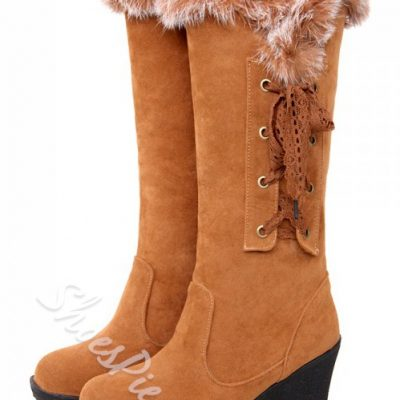 Warm Side Lace-up Knee High Boots