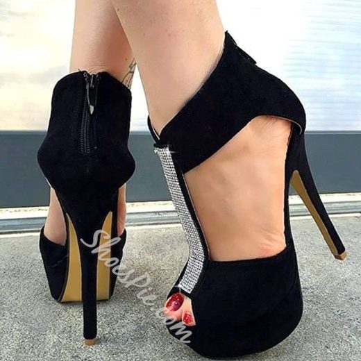 Shoespie Black Rhinestone Back Zipper Platform Heels