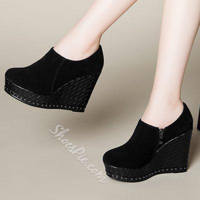Shoespie Chic Wedge Heel Side Zipper Wedge Heels