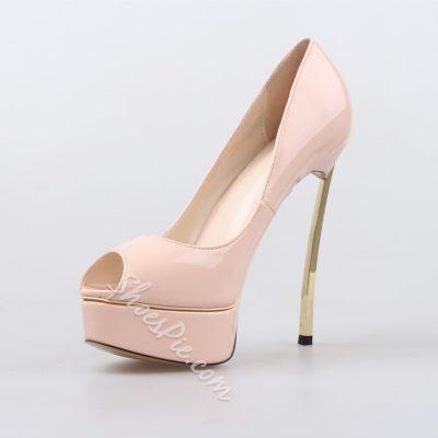 Shoespie Classy Peep Toe Triangle Metal Heels