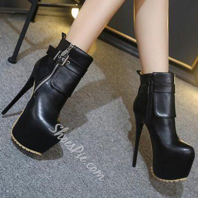 Shoespie Elegant Black Buckle Platform High Heel Ankle Boots