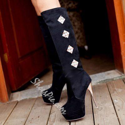Shoespie Elegant Velvet Extreme High Boots