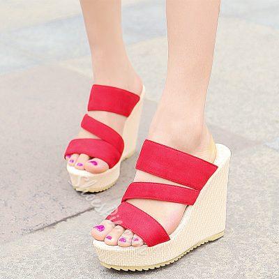 Shoespie Fashion Open Toe Wedge Heel Mule Shoes