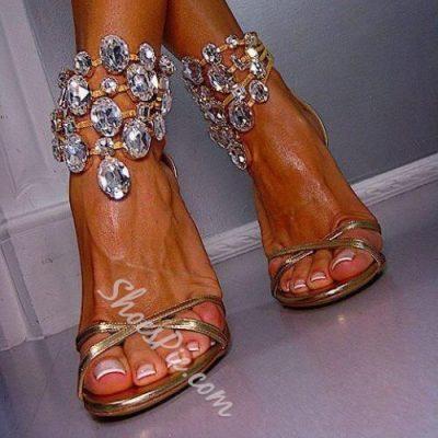 Shoespie Golden Color Huge Rhinestone Ankle Wrap Dress Sandals