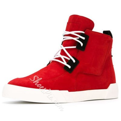 Shoespie Red Lace Up Men's Sneaker Boots