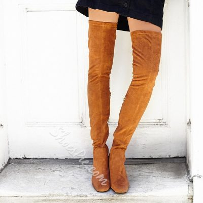 Shoespie Slim Block Heel Thigh High Boots
