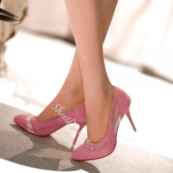 Shoespie Suede & Mesh Stiletto Heels