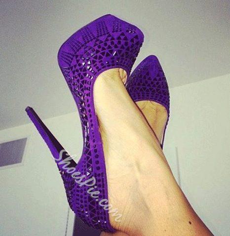 Awesome Purple Laser Out Caged Platform Heels
