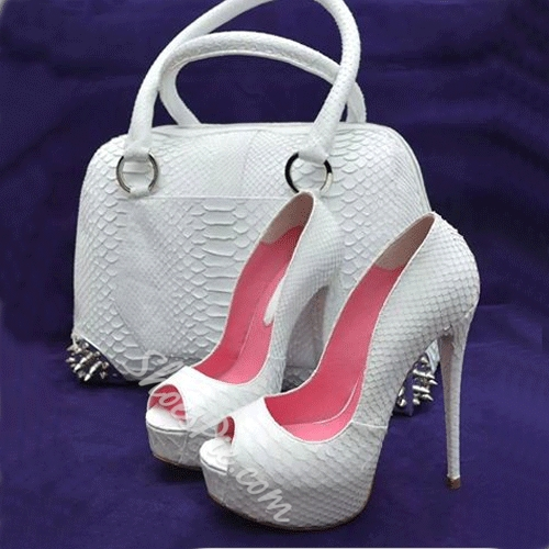 Elegant Solid Color Peep-Toe Heels (not include the bag)