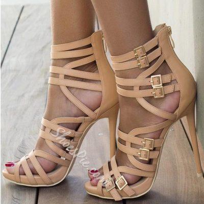 Fabulous Solid Color Zipper Cut-out Plus Size Stiletto Gladiator Sandals