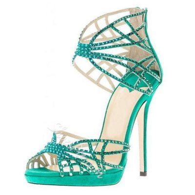 High Quality Rhinestone Women Dress Sandals