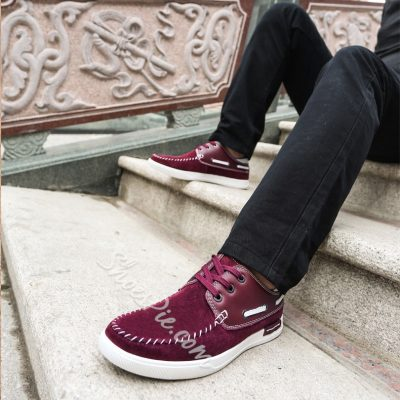 Mens Lace-up Patchwork Loafers