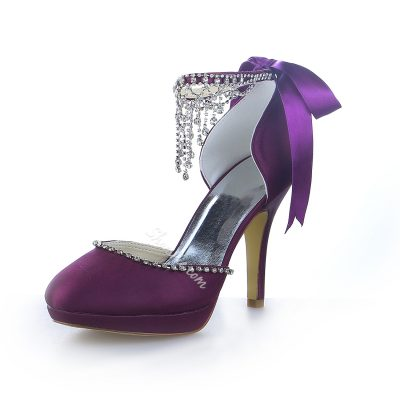 Pretty Satin Sequin Stiletto Bridal Shoes