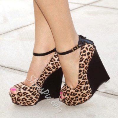 Sexy Beautiful Womens Leopard Grain Wedge Sandals