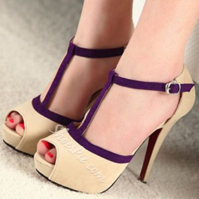Shoespie Beige Purple Strappy Peep Toe Platform Sandals