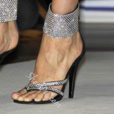 Shoespie Black Color Rhinestone Wide Strap Ankle Wrap Dress Sandals