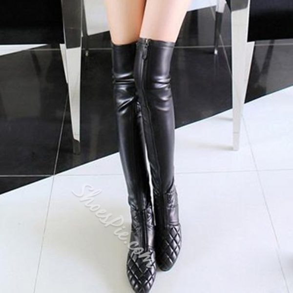 Shoespie Black Plaid Flat Knee High Boots