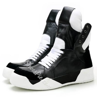 Shoespie Black and White Mens Sneakers