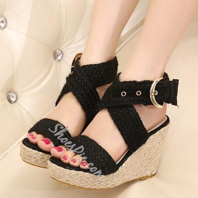 Shoespie Braided Strappy Wedge Sandals