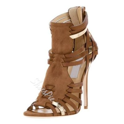 Shoespie Brown Braided Heel Sandals