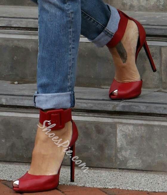 Shoespie Buckle Peep-toe Dress Sandals
