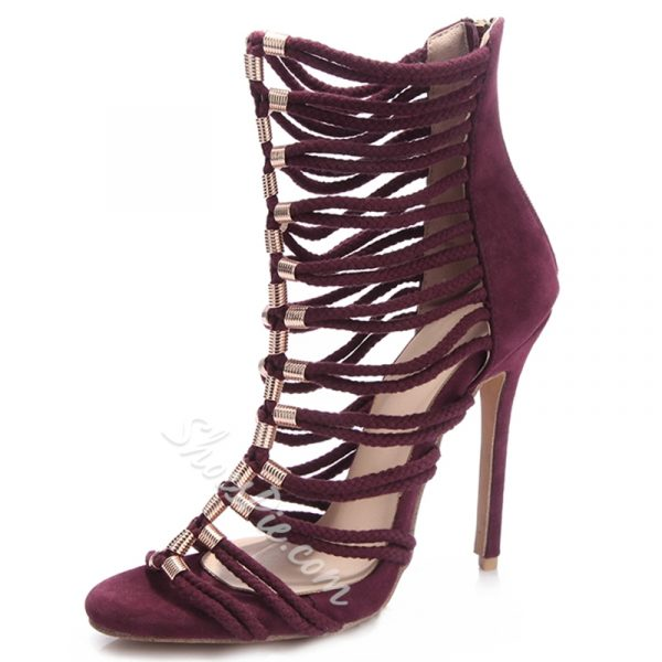 Shoespie Burgundy Ropes Cage Sandals