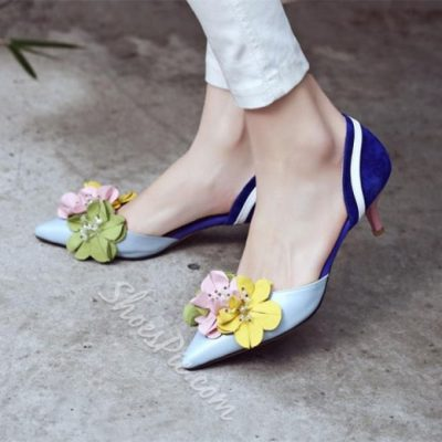 Shoespie Casual Flowers Embellished Dorsay Low Heels