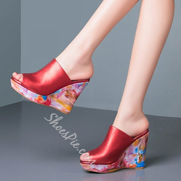 Shoespie Chic Painted Wedge Heel Mules