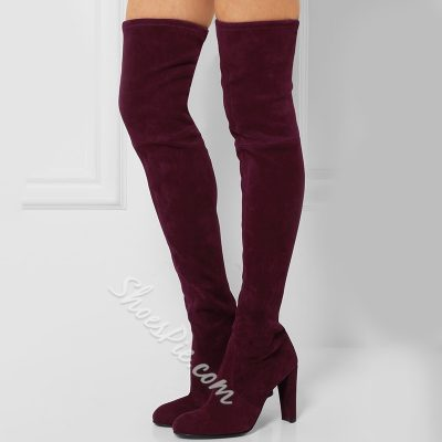 Shoespie Chic Plain Red Stretch Suede Over the Knee Boots
