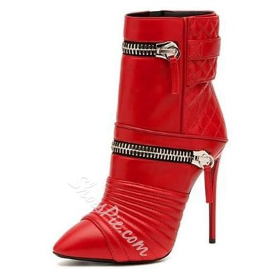 Shoespie Chic Red Zipper Plaid High Heel Boots