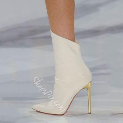 Shoespie Chic Runway Plain White Stiletto Heel Fashion Booties