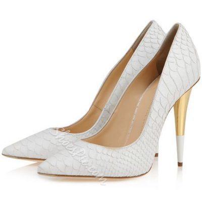 Shoespie Chic White Embossed Banquet Stiletto Heels