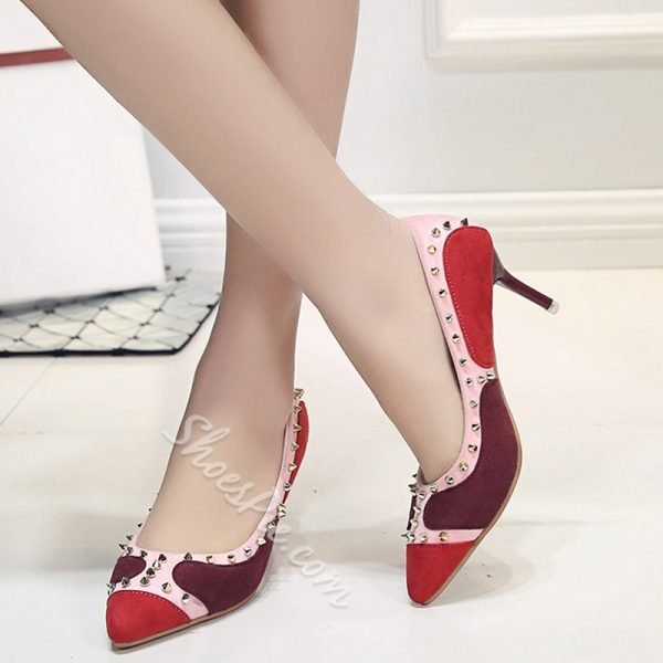 Shoespie Color Block Rivets Kitten Heel Pumps