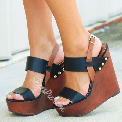 Shoespie Color Block Wedge Heel Sandals