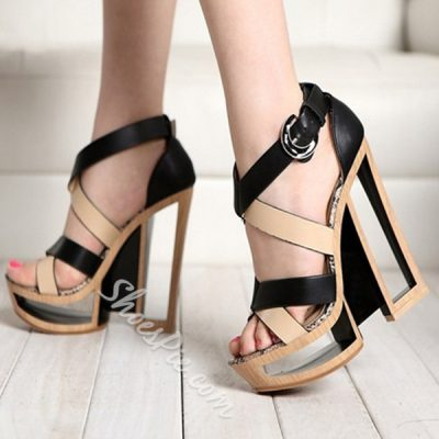 Shoespie Contrast Color Hollow Heel Platform Sandals