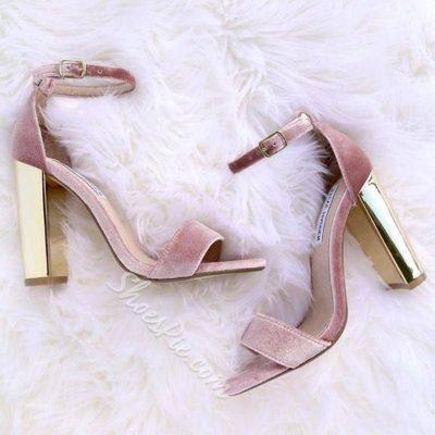 Shoespie Cute Pink Velvet Open Toe Chunky Heel Sandals
