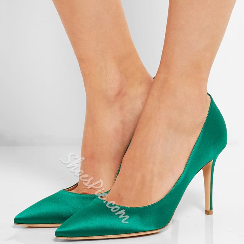 Shoespie Decent Green Satin Court Shoes