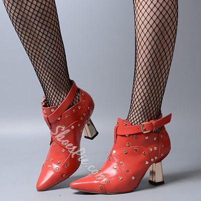 Shoespie Desigh Rivets Ankle Buckle Mid Heel Spring Pumps
